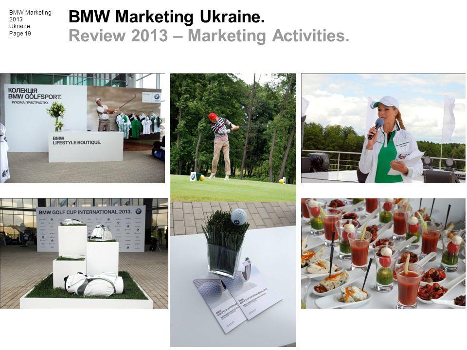 BMW Marketing 2013 Ukraine Page 19 BMW Marketing Ukraine. Review 2013 – Marketing Activities.