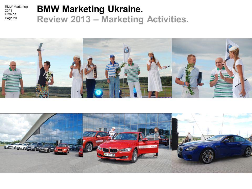 BMW Marketing 2013 Ukraine Page 20 BMW Marketing Ukraine. Review 2013 – Marketing Activities.