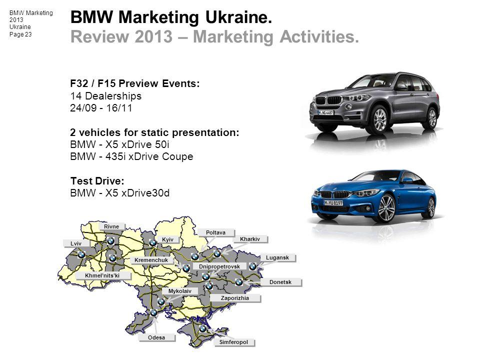 BMW Marketing 2013 Ukraine Page 23 BMW Marketing Ukraine. Review 2013 – Marketing Activities. F32 / F15 Preview Events: 14 Dealerships 24/09 - 16/11 2