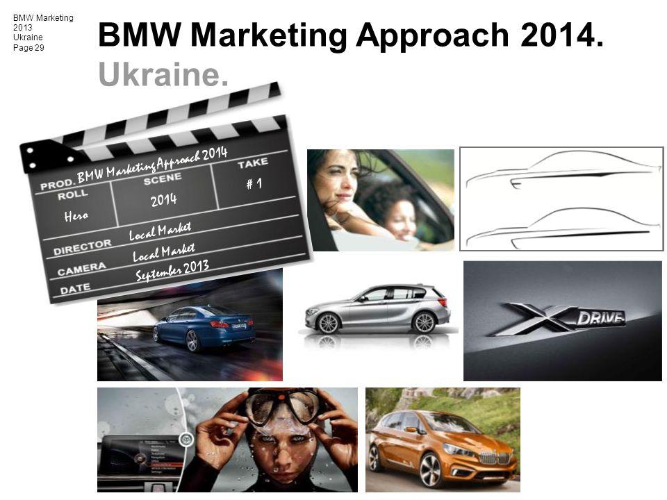BMW Marketing 2013 Ukraine Page 29 BMW Marketing Approach 2014. Ukraine. BMW Marketing Approach 2014 Hero Local Market September 2013 2014 # 1 Local M