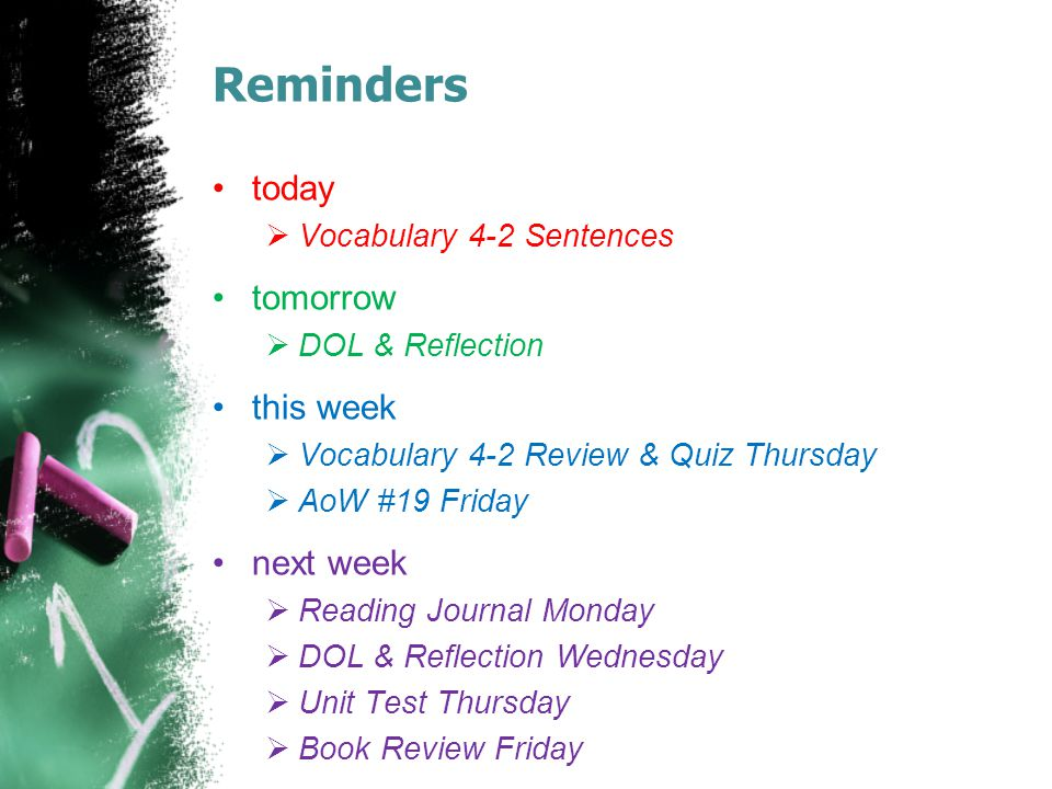 Reminders today  Vocabulary 4-2 Sentences tomorrow  DOL & Reflection this week  Vocabulary 4-2 Review & Quiz Thursday  AoW #19 Friday next week  Reading Journal Monday  DOL & Reflection Wednesday  Unit Test Thursday  Book Review Friday