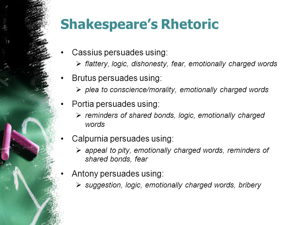 Shakespeare's Rhetoric Cassius persuades using:  flattery, logic, dishonesty, fear, emotionally charged words Brutus persuades using:  plea to conscience/morality, emotionally charged words Portia persuades using:  reminders of shared bonds, logic, emotionally charged words Calpurnia persuades using:  appeal to pity, emotionally charged words, reminders of shared bonds, fear Antony persuades using:  suggestion, logic, emotionally charged words, bribery