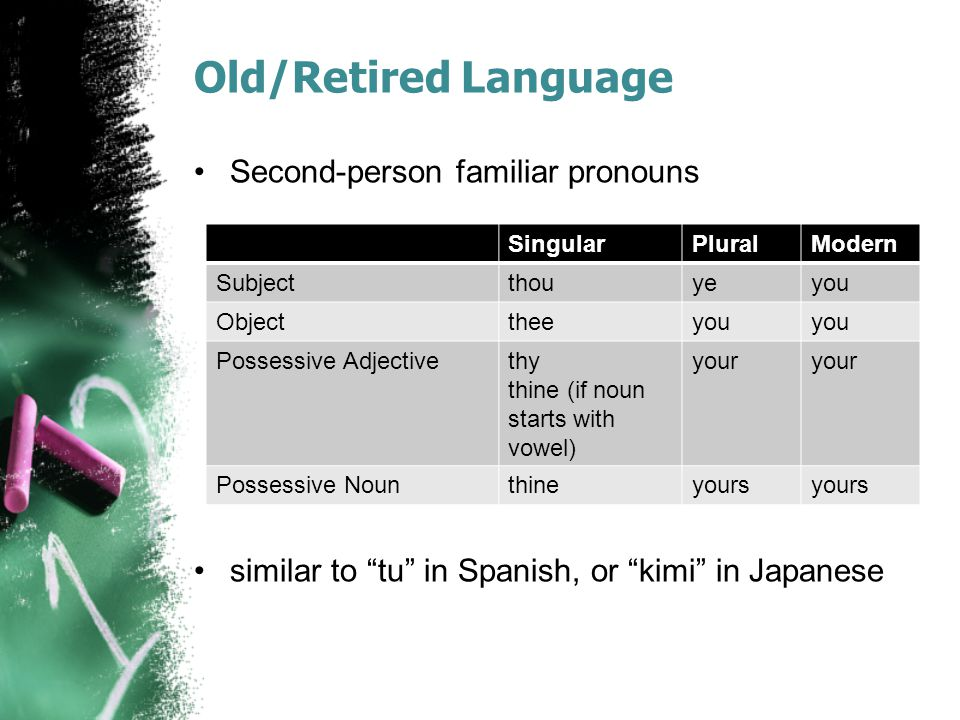 Old/Retired Language Second-person familiar pronouns similar to tu in Spanish, or kimi in Japanese SingularPluralModern Subjectthouyeyou Objecttheeyou Possessive Adjectivethy thine (if noun starts with vowel) your Possessive Nounthineyours