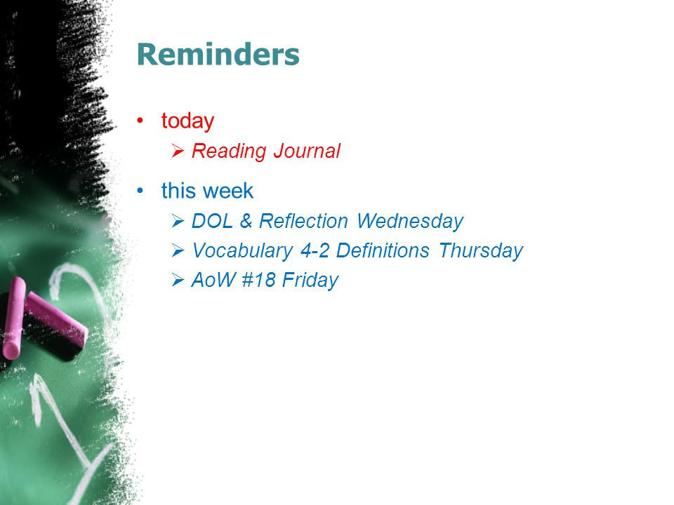 Reminders today  Reading Journal this week  DOL & Reflection Wednesday  Vocabulary 4-2 Definitions Thursday  AoW #18 Friday