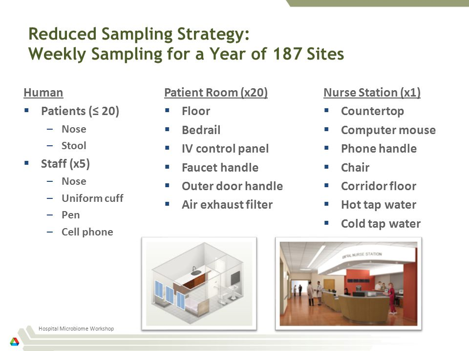 Reduced Sampling Strategy: Weekly Sampling for a Year of 187 Sites Human  Patients (≤ 20) –Nose –Stool  Staff (x5) –Nose –Uniform cuff –Pen –Cell phone Hospital Microbiome Workshop Patient Room (x20)  Floor  Bedrail  IV control panel  Faucet handle  Outer door handle  Air exhaust filter Nurse Station (x1)  Countertop  Computer mouse  Phone handle  Chair  Corridor floor  Hot tap water  Cold tap water