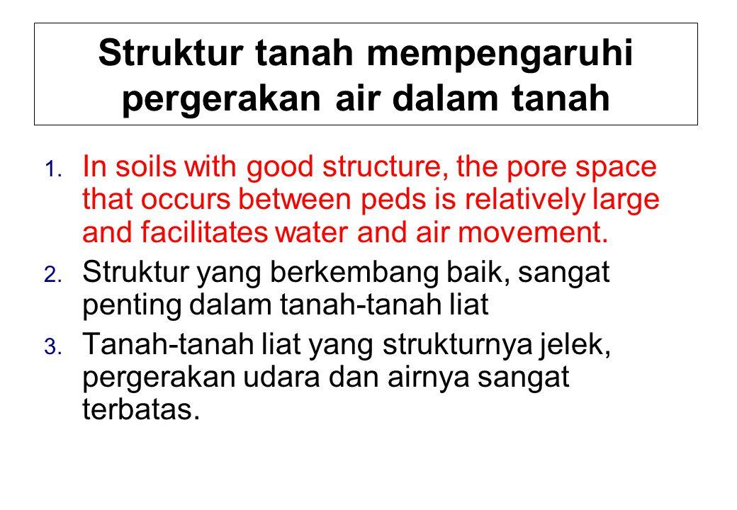 Struktur tanah mempengaruhi pergerakan air dalam tanah 1.