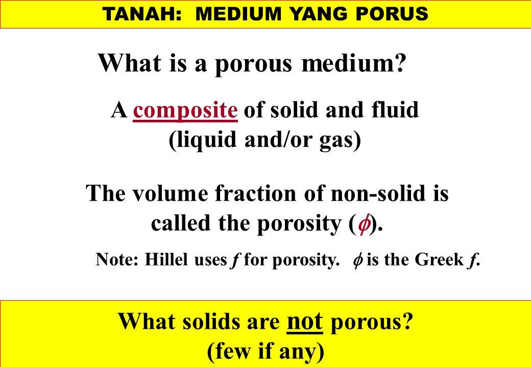 TANAH: MEDIUM YANG PORUS What is a porous medium.