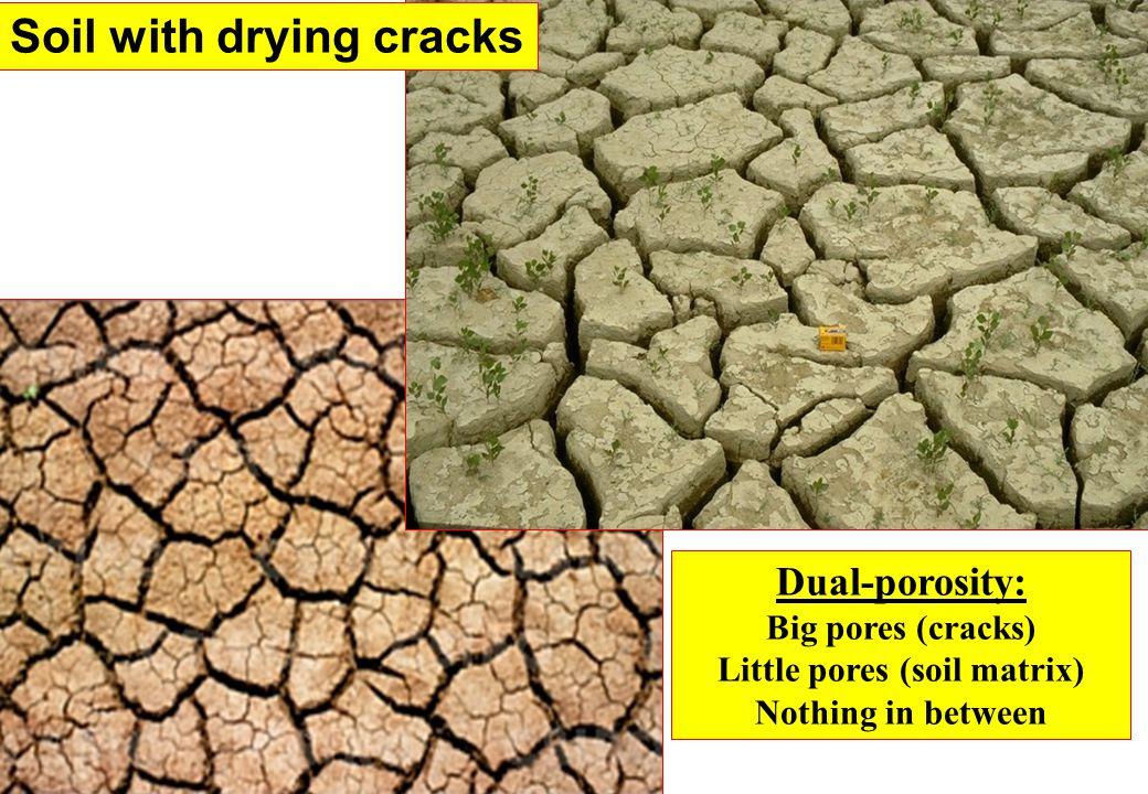 Soil with drying cracks Dual-porosity: Big pores (cracks) Little pores (soil matrix) Nothing in between