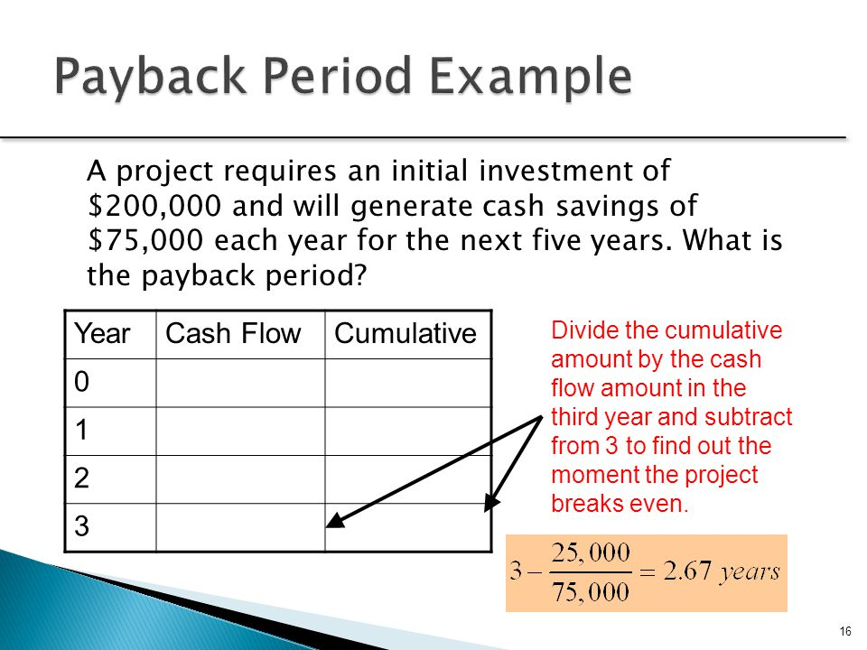 16 A project requires an initial investment of $200,000 and will generate cash savings of $75,000 each year for the next five years. What is the payba