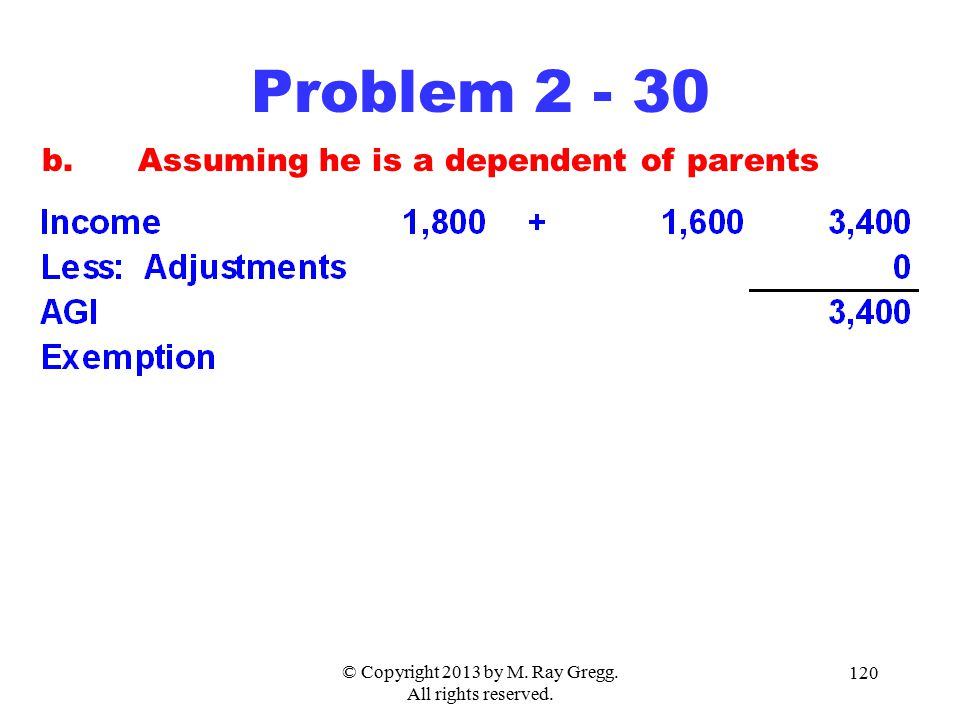 © Copyright 2013 by M. Ray Gregg. All rights reserved. 120 Problem 2 - 30 b.Assuming he is a dependent of parents