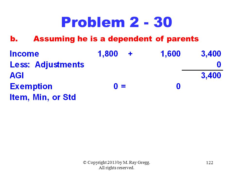 © Copyright 2013 by M. Ray Gregg. All rights reserved. 122 Problem 2 - 30 b.Assuming he is a dependent of parents