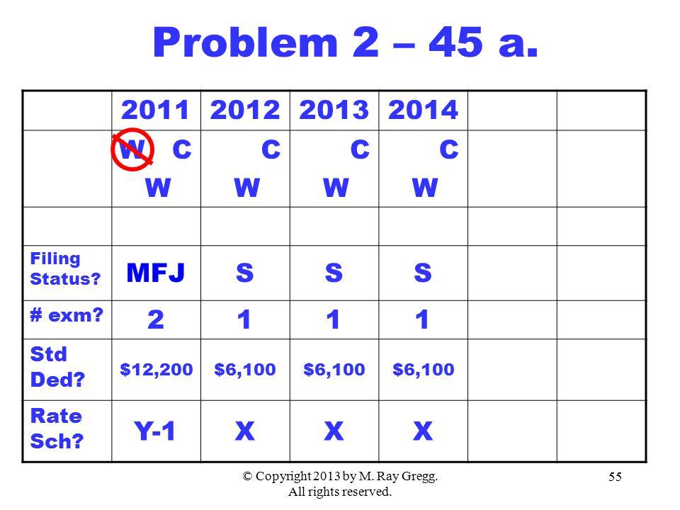 © Copyright 2013 by M. Ray Gregg. All rights reserved. 55 2011201220132014 W C W C W C W C W Filing Status? MFJSSS # exm? 2111 Std Ded? $12,200$6,100