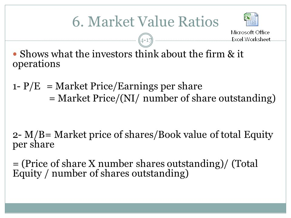6. Market Value Ratios 4-17 Shows what the investors think about the firm & it operations 1- P/E = Market Price/Earnings per share = Market Price/(NI/