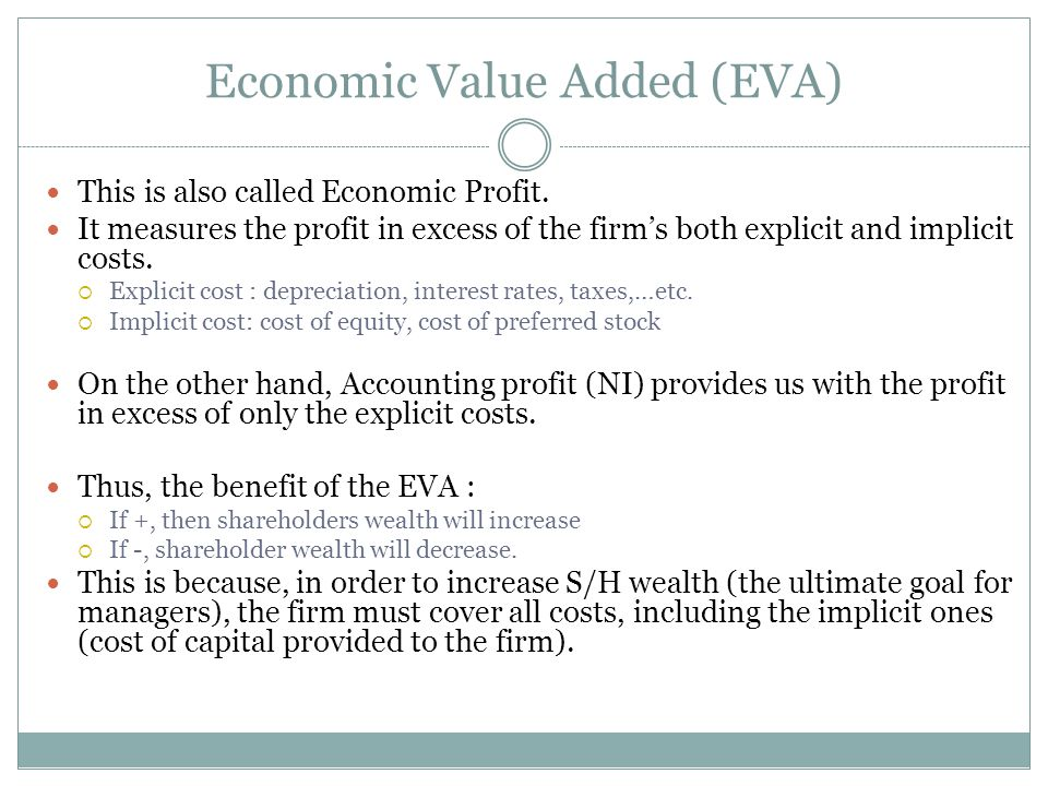Economic Value Added (EVA) This is also called Economic Profit.