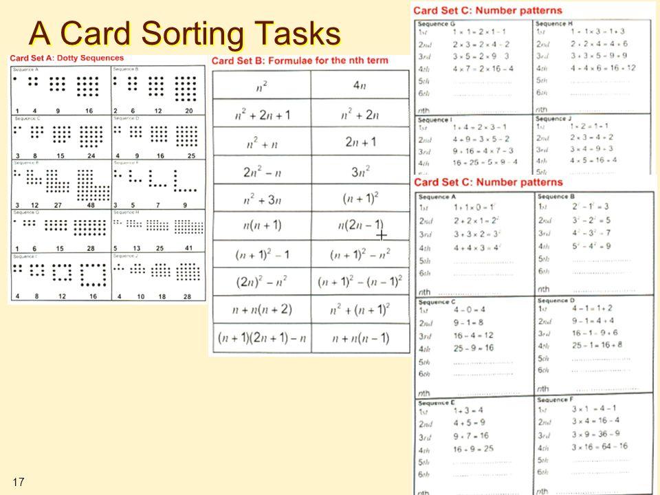 17 A Card Sorting Tasks