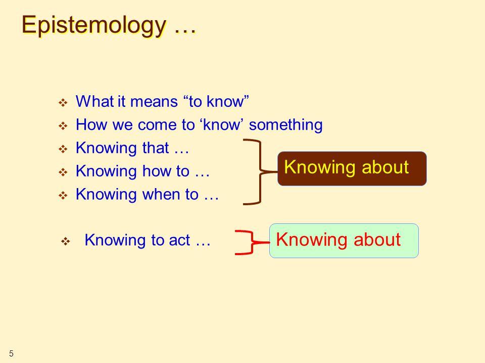 6 Epistemological Stances  Practice makes perfect .