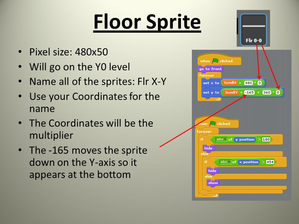 Floor Sprite Pixel size: 480x50 Will go on the Y0 level Name all of the sprites: Flr X-Y Use your Coordinates for the name The Coordinates will be the