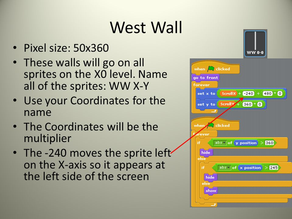 West Wall Pixel size: 50x360 These walls will go on all sprites on the X0 level. Name all of the sprites: WW X-Y Use your Coordinates for the name The