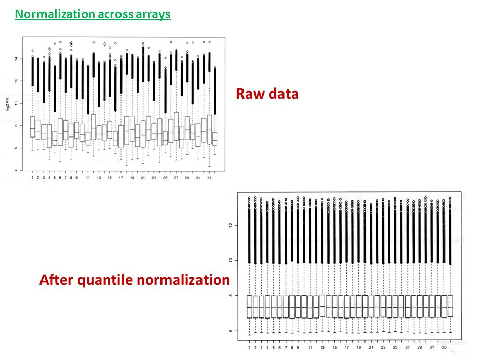 Raw data After quantile normalization Normalization across arrays