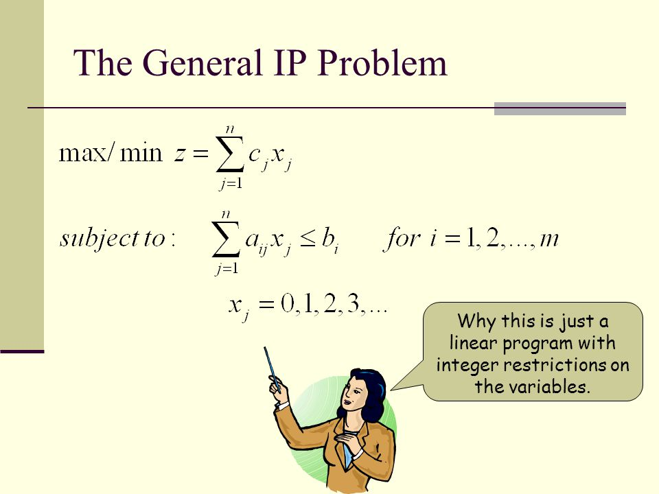 The Lineup The General Problem The Transportation Problem The Assignment Problem The Knapsack Problem The Traveling Salesman Problem The Postman probl
