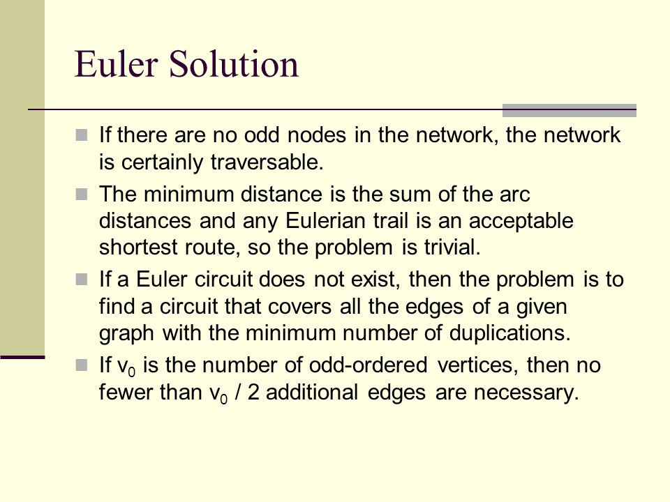Euler's Solution When a vertex is