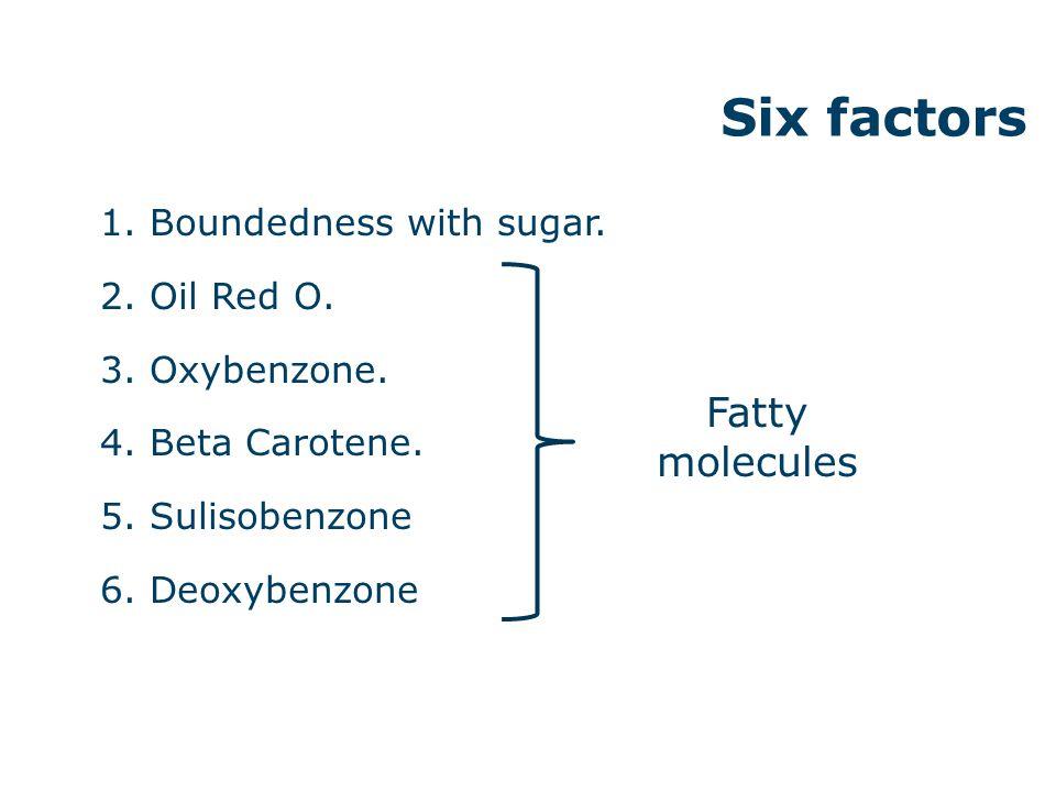 1. Boundedness with sugar. 2. Oil Red O. 3. Oxybenzone. 4. Beta Carotene. 5. Sulisobenzone 6. Deoxybenzone Six factors Fatty molecules