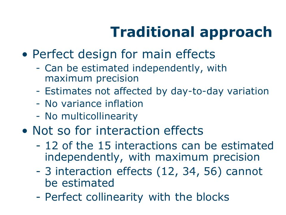 Traditional approach Perfect design for main effects -Can be estimated independently, with maximum precision -Estimates not affected by day-to-day var