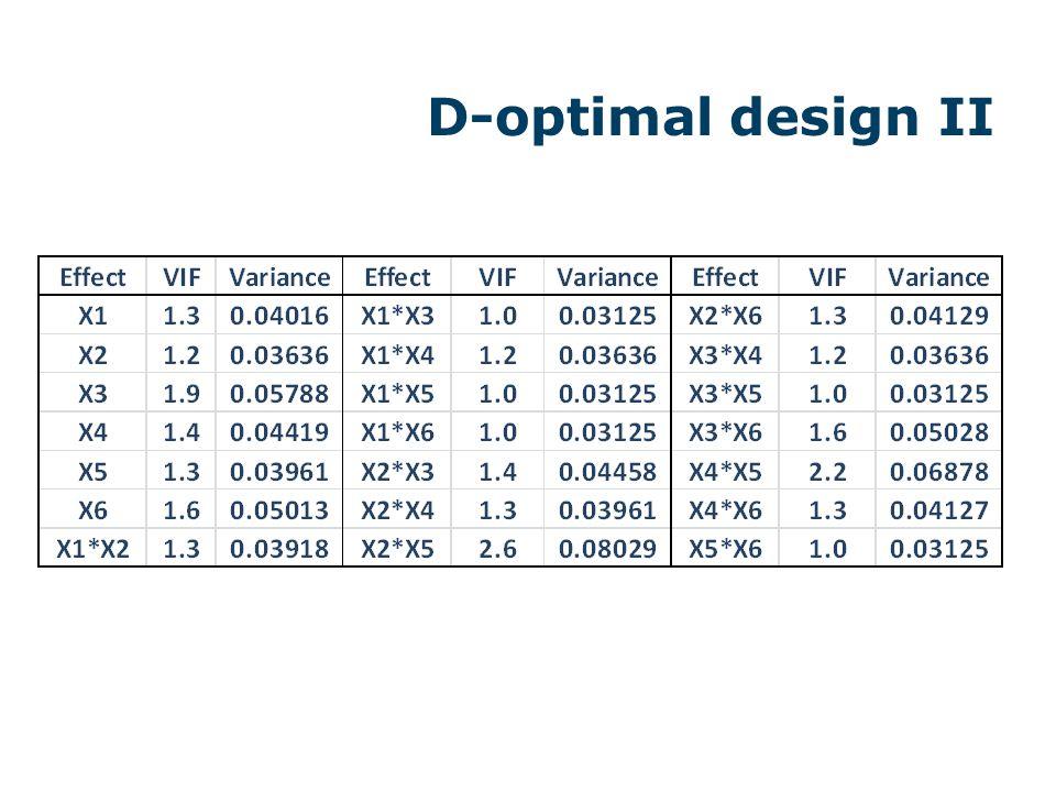 D-optimal design II