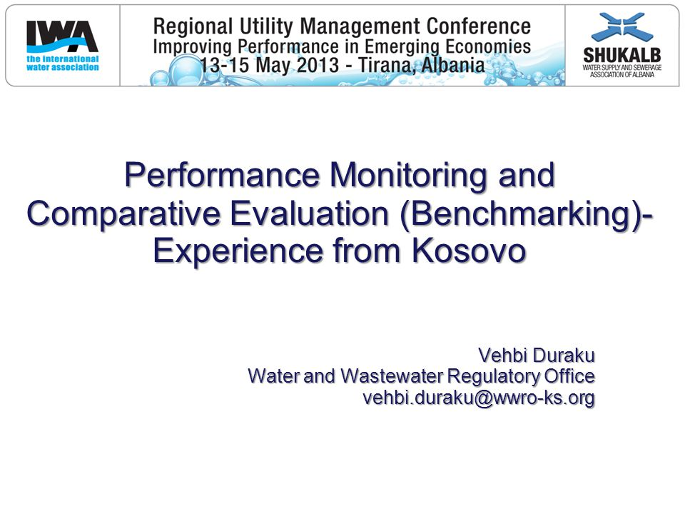 Performance Monitoring Process Performance Monitoring Program Regular activity within the Water Regulatory Development of Annual Monitoring Plan Reporting of data, Verification of data, Processing of indicators and their analysis, Publication of annual performance report, Activities on improvement of SP Reward of prices for the best performance, Workshops, meetings with SP Management,