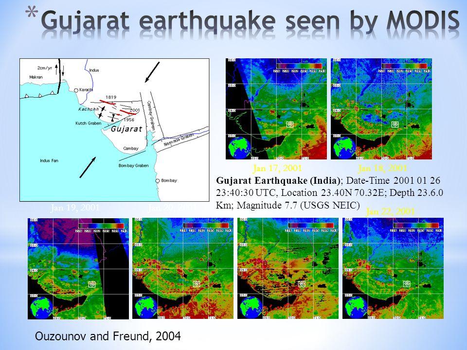 Jan 18, 2001 Jan 19, 2001Jan 20, 2001Jan 21, 2001 Jan 22, 2001 Jan 17, 2001 Gujarat Earthquake (India); Date-Time 2001 01 26 23:40:30 UTC, Location 23.40N 70.32E; Depth 23.6.0 Km; Magnitude 7.7 (USGS NEIC) Ouzounov and Freund, 2004