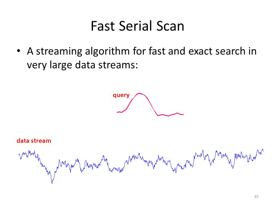 Z-normalization Needed when interested in detecting trends and not absolute values For streaming data: – each subsequence of interest should be z-normalized before being compared to the z-normalized query – otherwise the trends lost Z-normalization guarantees: – offset invariance – scale/amplitude invariance 46 A B C