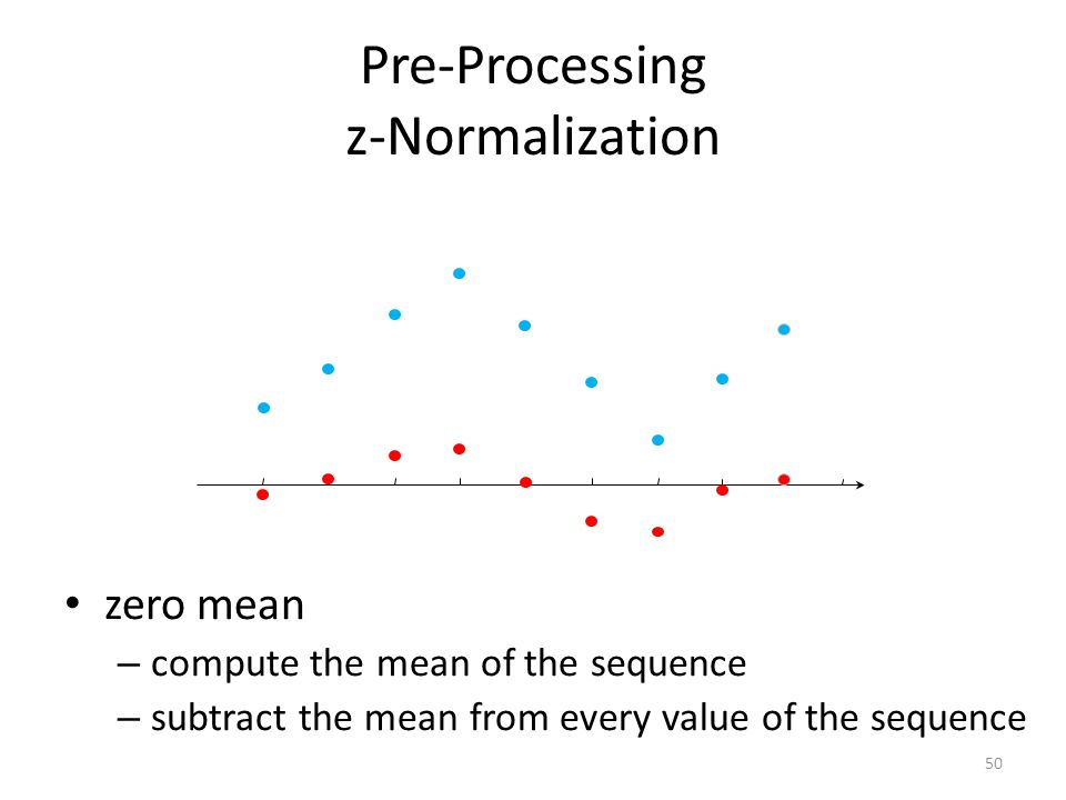 Pre-Processing z-Normalization zero mean – compute the mean of the sequence – subtract the mean from every value of the sequence 51