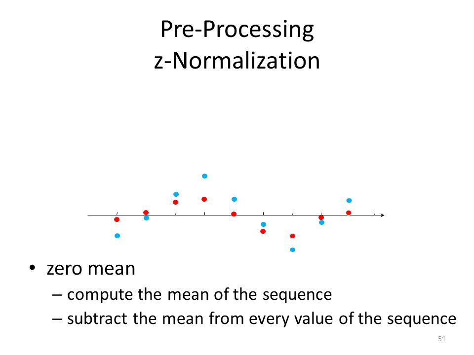 Pre-Processing z-Normalization zero mean – compute the mean of the sequence – subtract the mean from every value of the sequence 52