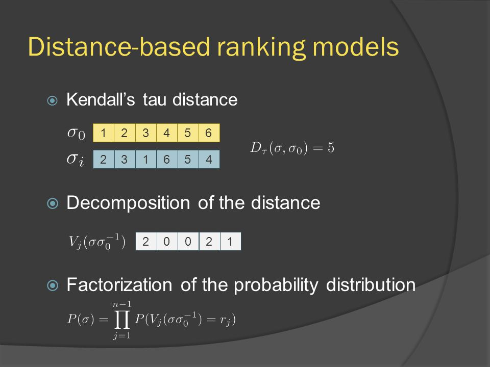 Distance-based ranking models  Kendall's tau distance  Decomposition of the distance  Factorization of the probability distribution 123456231654200