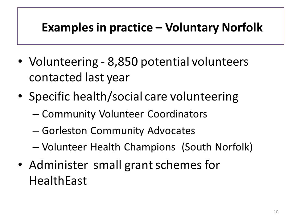 Examples in practice – Voluntary Norfolk Volunteering - 8,850 potential volunteers contacted last year Specific health/social care volunteering – Community Volunteer Coordinators – Gorleston Community Advocates – Volunteer Health Champions (South Norfolk) Administer small grant schemes for HealthEast 10