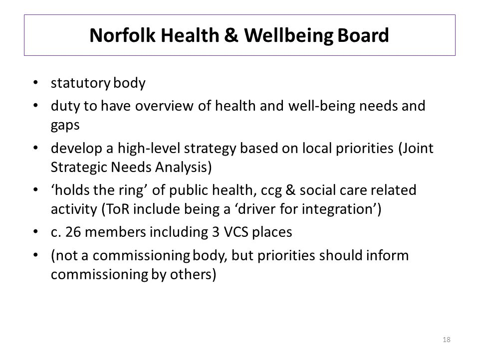 Norfolk Health & Wellbeing Board statutory body duty to have overview of health and well-being needs and gaps develop a high-level strategy based on local priorities (Joint Strategic Needs Analysis) 'holds the ring' of public health, ccg & social care related activity (ToR include being a 'driver for integration') c.