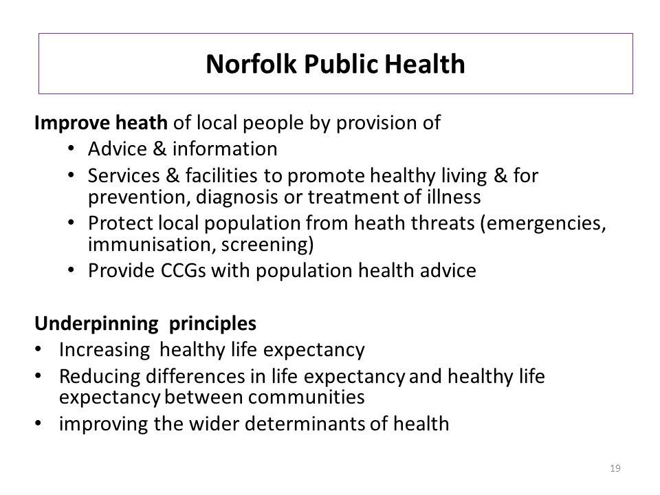 Norfolk Public Health Improve heath of local people by provision of Advice & information Services & facilities to promote healthy living & for prevention, diagnosis or treatment of illness Protect local population from heath threats (emergencies, immunisation, screening) Provide CCGs with population health advice Underpinning principles Increasing healthy life expectancy Reducing differences in life expectancy and healthy life expectancy between communities improving the wider determinants of health 19