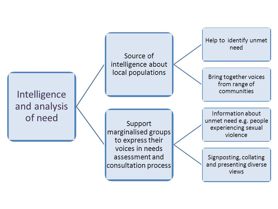 Intelligence and analysis of need Source of intelligence about local populations Help to identify unmet need Bring together voices from range of communities Support marginalised groups to express their voices in needs assessment and consultation process Information about unmet need e.g.