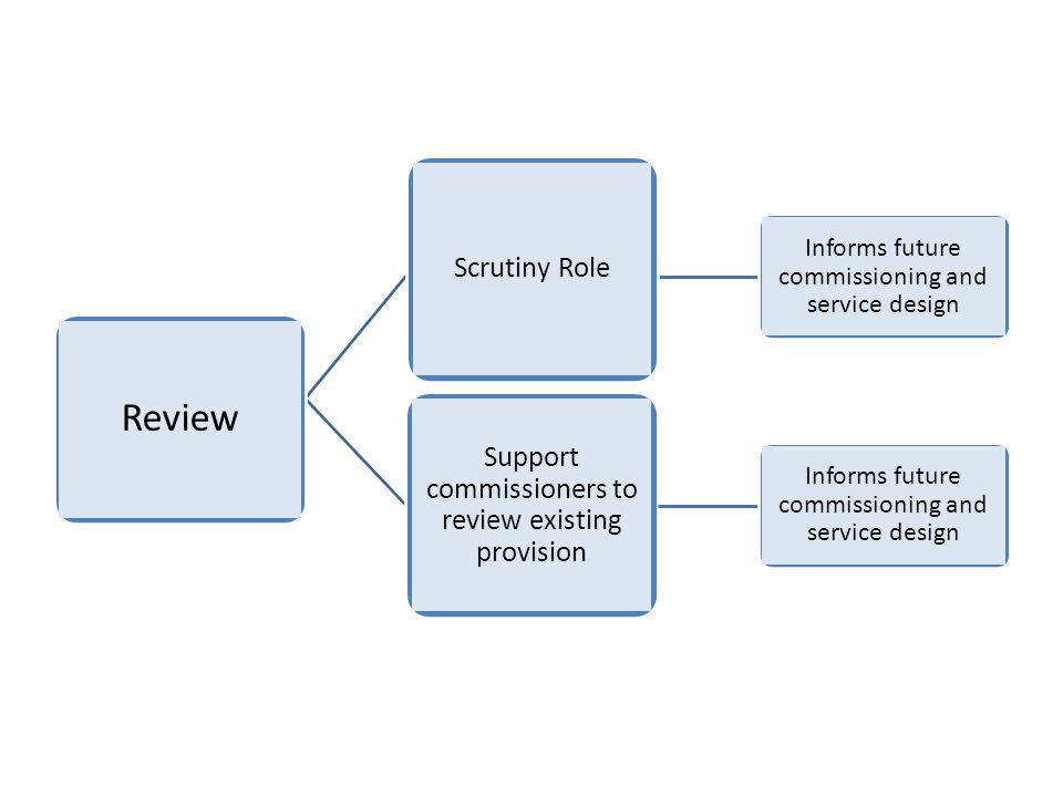 Informs future commissioning and service design Support commissioners to review existing provision Informs future commissioning and service design Scrutiny Role Review