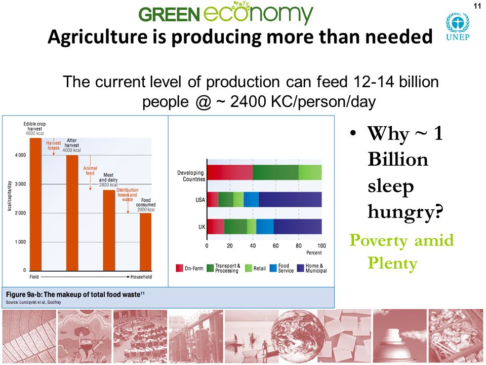Agriculture is producing more than needed 11 The current level of production can feed 12-14 billion people @ ~ 2400 KC/person/day Why ~ 1 Billion slee