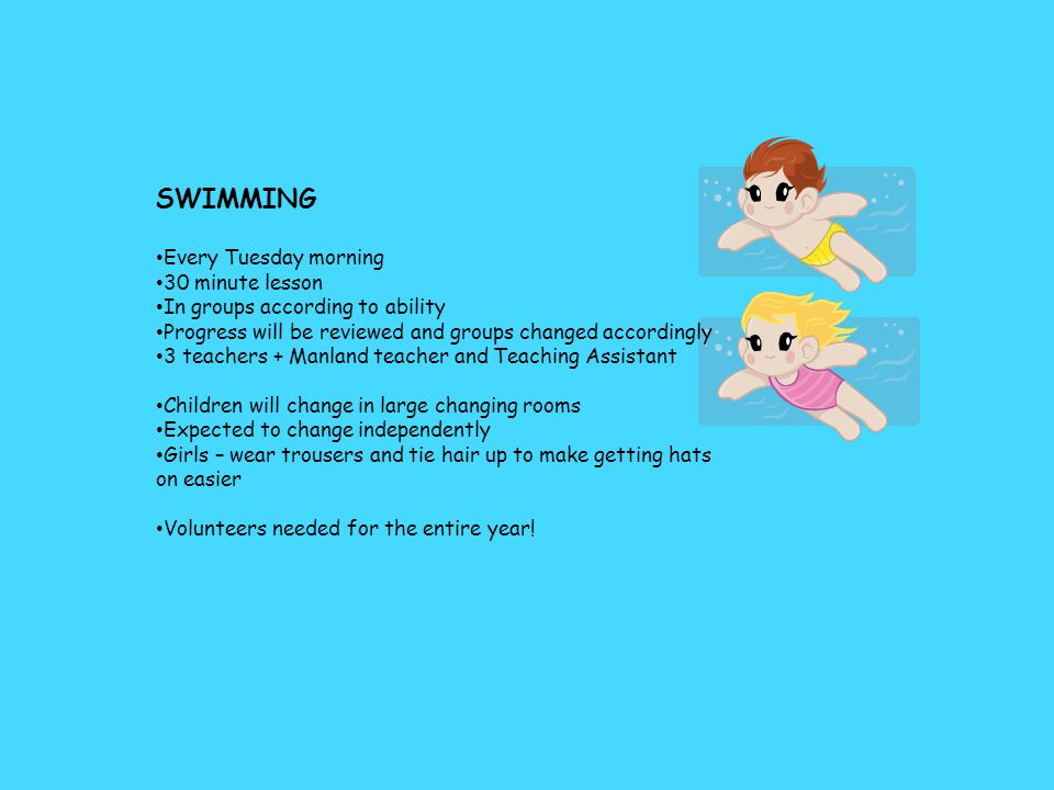 SWIMMING Every Tuesday morning 30 minute lesson In groups according to ability Progress will be reviewed and groups changed accordingly 3 teachers + Manland teacher and Teaching Assistant Children will change in large changing rooms Expected to change independently Girls – wear trousers and tie hair up to make getting hats on easier Volunteers needed for the entire year!