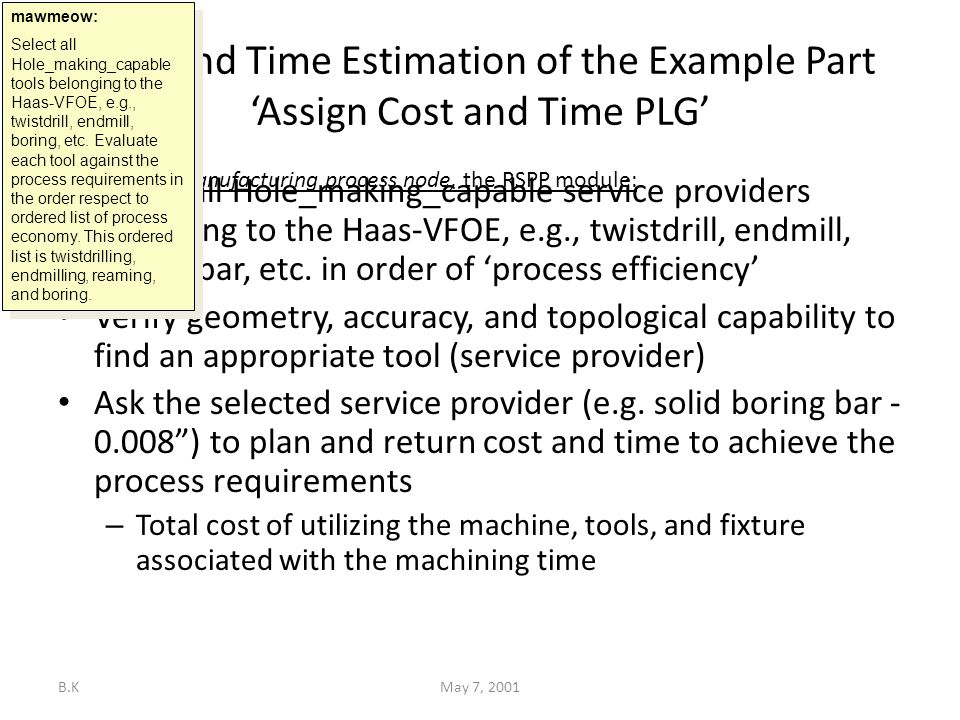 B.KMay 7, 2001 Cost and Time Estimation of the Example Part 'Assign Cost and Time PLG' Select all Hole_making_capable service providers belonging to the Haas-VFOE, e.g., twistdrill, endmill, boring bar, etc.