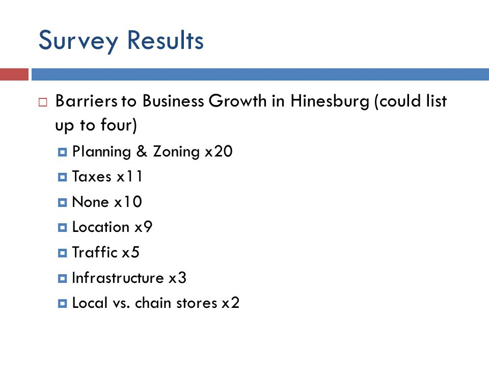 Survey Results  Barriers to Business Growth in Hinesburg (could list up to four)  Planning & Zoning x20  Taxes x11  None x10  Location x9  Traffic x5  Infrastructure x3  Local vs.