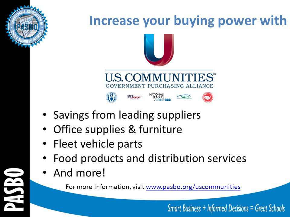 Increase your buying power with Savings from leading suppliers Office supplies & furniture Fleet vehicle parts Food products and distribution services And more.