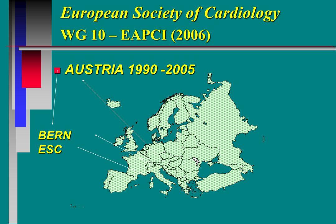 European Society of Cardiology WG 10 – EAPCI (2006) n AUSTRIA 1990 -2005 BERNESC