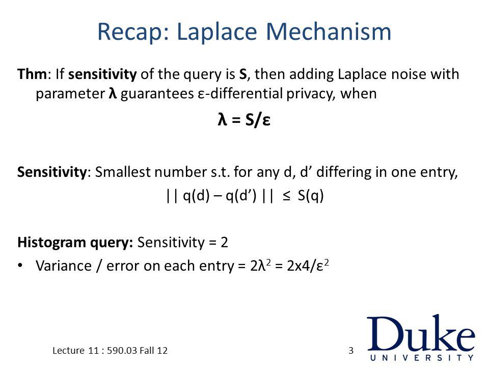 Wavelet Mechanism Lecture 11 : 590.03 Fall 1214 x1x2x3x4x5xn C2C3Cm … … C1 Step 1: Compute Wavelet coefficients C2+η2C3+η3Cm+ηm … C1+η1 Step 2: Add noise to coefficients y1y2y3y4y5yn … Step 3: Reconstruct original counts