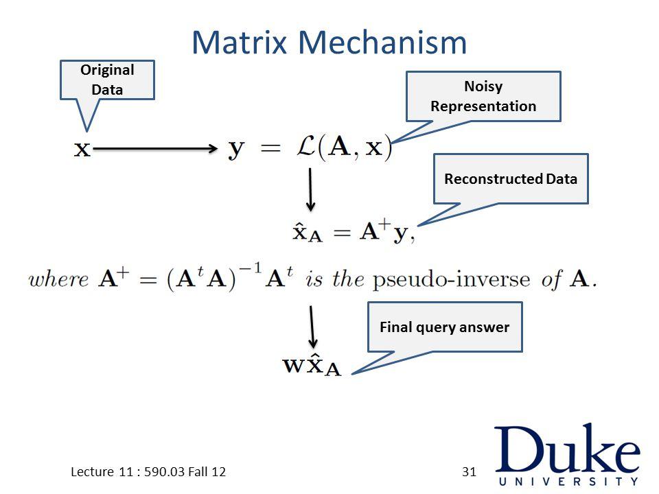 Matrix Mechanism Lecture 11 : 590.03 Fall 1231 Original Data Noisy Representation Reconstructed Data Final query answer