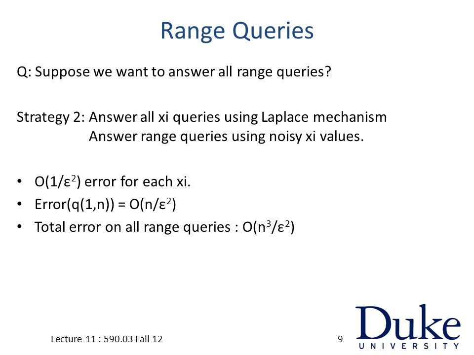 Laplace Mechanism Lecture 11 : 590.03 Fall 1230 Sensitivity Noise Vector of Laplace(1)