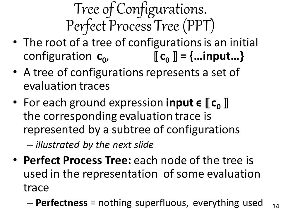 Tree of Configurations. Perfect Process Tree (PPT) The root of a tree of configurations is an initial configuration c 0,[[ c 0 ]] = {…input…} A tree o