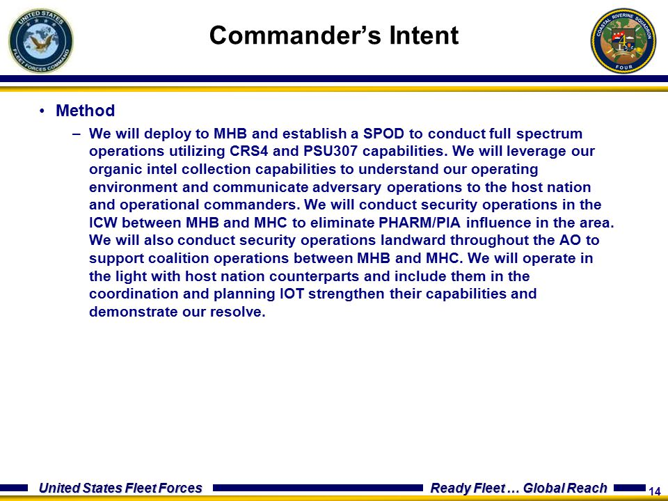 14 United States Fleet Forces Ready Fleet … Global Reach Method –We will deploy to MHB and establish a SPOD to conduct full spectrum operations utilizing CRS4 and PSU307 capabilities.